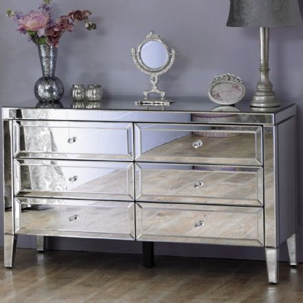 Vienna Mirrored Large 6 Drawer Chest